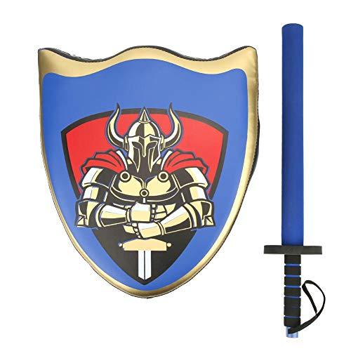 Qiilu Kinderen Taekwondo Bokstraining Vechten Ridder Schild Zwaard Fantasiespel Kostuumaccessoires(blauw)