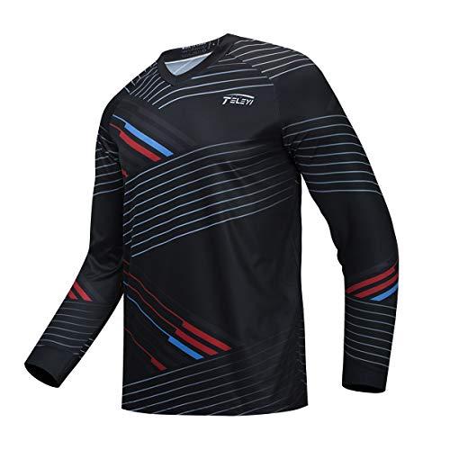 JPOJPO Hombres Ciclismo Jersey MTB camiseta manga larga juventud Off-Road motocicleta Jersey Bicicletas ropa Anti-UV - - XX-Large