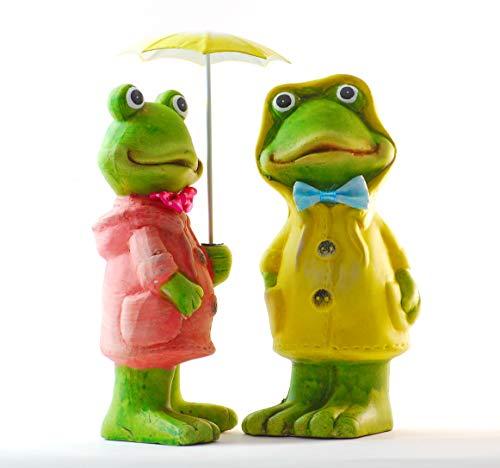 Schneemann-Versand Dekofiguren Frosch Frösche mit Regenschirm Garten Regenjacke Paar - Balkon