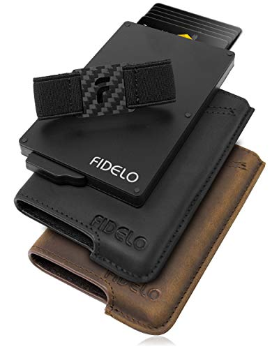 FIDELO Minimalist Wallet for Men - Hybrid Wallet with Black and Rustic Brown Removable Leather Case
