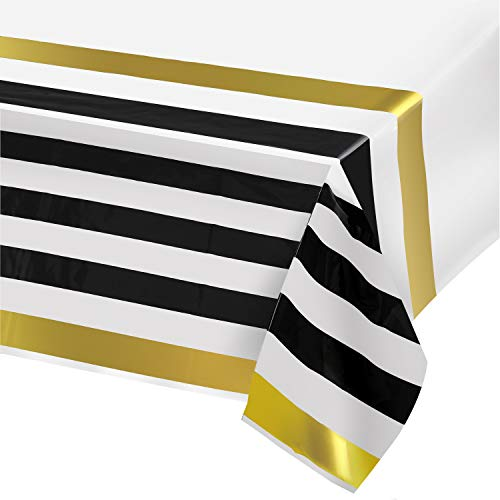 Plastic Tablecloths for Rectangle Tables,- 4 Pack - Party Table Cloths Disposable, Black and Gold Rectangular Table Covers, for Parties Thanksgiving Christmas Wedding, Bridel Shower