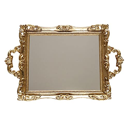 AngYou Gold Rechteck Glasspiegel Dekorative Tablett Schmuck Halskette Armband Tisch Parfümspeicher Tablett Badezimmer Lagerung (Color : Golden)