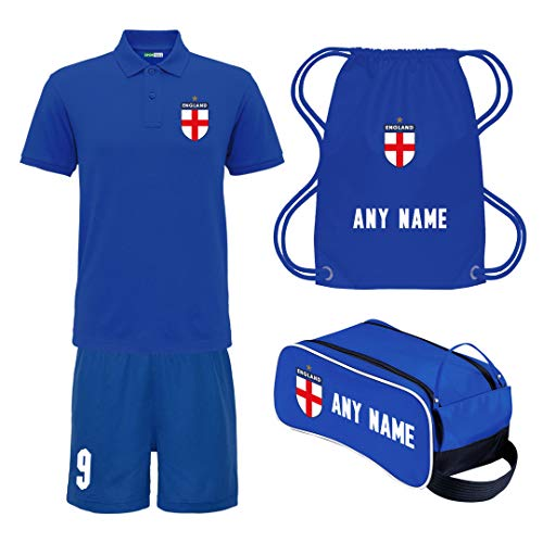 Sportees Retro Kids Child Personalised Royal Blue England Away Style Tournament Football Kit Bundle FREE Boot Bag With Latest Style Youth Football England Boys Or Girls Football Jersey 78 Years