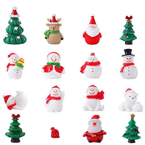 Herefun 16 Pcs Adornos en Miniatura de Navidad, Decoración de Navidad de Dibujos Animados Lindo, Mini Figura de Navidad de Papá Noel Árbol para Decoración de Fiesta de Jardín (B)