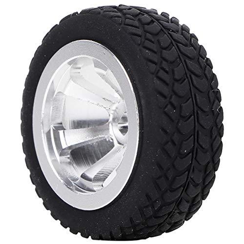 Excelente 4 unids 1/28 RC Modelo de Juguete Neumático Neumático Accesorios Ajuste para WLTOYS K989-53 RC Piezas DE Coches DE Aluminio Cubiertas DE Aluminio Suave (Color : Silver)