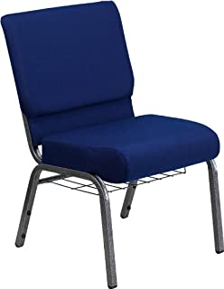Flash Furniture HERCULES Series 21''W Church Chair in Navy Blue Fabric with Cup Book Rack - Silver Vein Frame