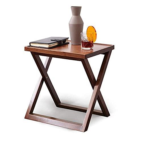 GAXQFEI Nordic Black Walnut Sofa Beistelltisch, Einfaches Haus Kleiner Couchtisch, Multifunktionaler Beweglicher Nachttisch Mit X-Förmiger Beindesign 17.7X12.6X17.7In