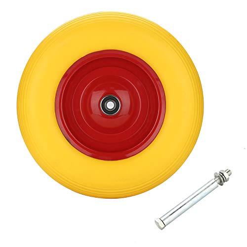 VINGO PU Schubkarrenrad Vollgummi 4.80/4.00-8 Ø 390mm 200 kg inkl. Achse Ersatzrad Reifen für Schubkarre pannensicheres PU Rad