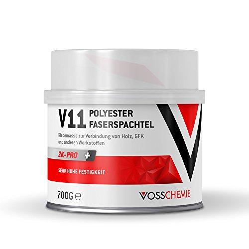 Vosschemie V11 Glasfaserspachtel 700g - 2K Polyesterspachtelmasse mit Glasfasern verstärkter Faserspachtel