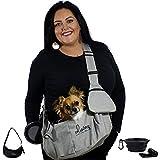 dainz ® Bolsa para perros pequeños de hasta 5 kg, bolsa de transporte para perros, gatos, cachorros, incluye cinturón de seguridad + accesorios, para paseos, viajes...