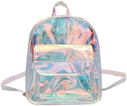 Backpack Transparent Clear Rucksack Women Kawaii Holographic School Bag For Girl (Large)
