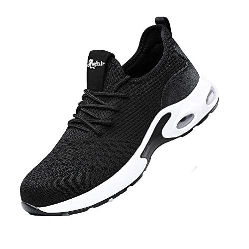 JRR Sicherheitsschuhe Herren Leicht Arbeitsschuhe Damen Atmungsaktiv Reflektierend Schutzschuhe Stahlkappe Sneaker (Schwarz-Weiss, Numeric_43)