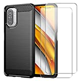 Cover per Xiaomi Poco F3 5G, Nero Rugged Morbido TPU Anti-Caduta Protettiva Custodia con Due...