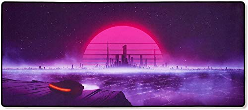 Thasis - Extended Gaming Mouse Pad - Retrowave Edition - Cloth with Stitched Edges - 15.7in H x 36.6in L-Retrowave-Extended