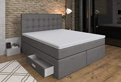 Tesla Dreams Boxspringbett Ankona 160x200 - Schublade,7 Zonen-Taschenfederkern-Matratzen,H2/H3,Topper VISCO-3D Bezug,Grau