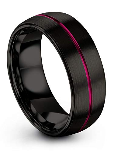 Chroma Color Collection Tungsten Carbide Wedding Band Ring 8mm for Men Women Fuchsia Center Line Black Interior with Dome Brushed Polished Comfort Fit Anniversary Size 11.5