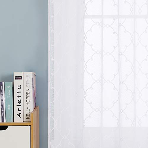 Deconovo Cortinas Visillos para Ventana Cortina Transparente con Ojales para Dormitorio y Salón 2 Piezas 140 x 240 cm Blanco