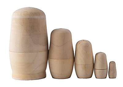 TSJ 4.5 Inch Set of 5 Unpainted Blank Wooden Russian Nesting Dolls Craft for Kids Wood Easter Eggs Painting