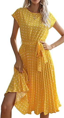 YINGKE Mujer Vestido Casual Vestido Lunares Cuello Redondo Vestido Largo de Verano Vacaciones Fiesta Retro Chic Casual Cómodo, Amarillo S
