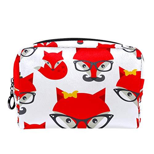 Bolsa de cosméticos Bolsa de Maquillaje para Mujer para Viajar para Llevar cosméticos, Cambio, Llaves, etc. Patrón sin Costuras con Hipster Fox
