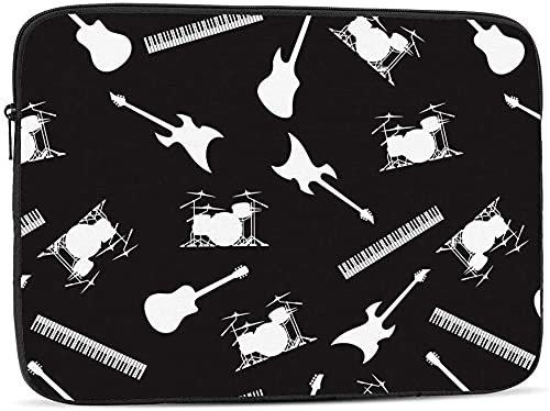 Grey Black Camo of Freshwater Fish Laptop Sleeve Bag Compatible with 10-17 Inch Classic Computer Bag Laptop Case-Guitar, Drums, Keyboards, And Bass,17inch