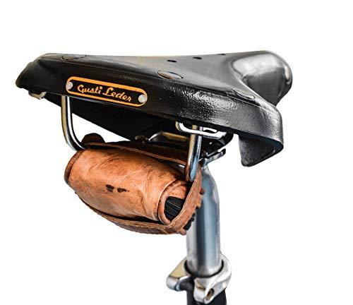 Gusti Borsetta da bicicletta Leder nature Hanka K. sottosella vintage in vera pelle da sellino manubrio bisaccia pratica elegante portaoggetti G9