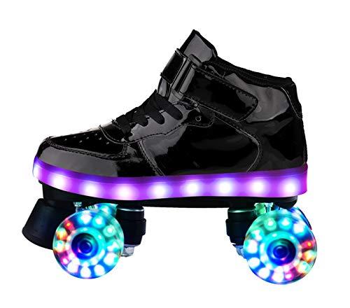 Xbshmw Quad Rollschuhe Für Mädchen Erwachsene Frau Mit LED lichtern, Cool Flash Pu Rad Für Anfänger Teens,Schwarz,UK 7.5/EU 41