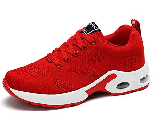 Chaussure Running Femme Lacets Antidérapant Léger Outdoor Sport Antidérapant Formateurs Décontracté Sneakers Rouge 36 EU