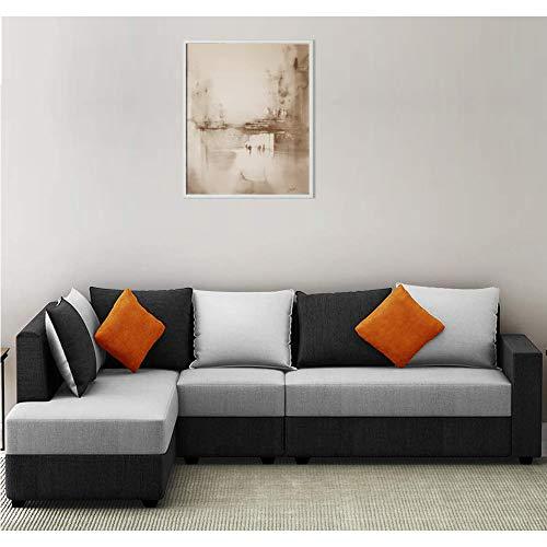 Woodcasa Urbanway Hardwood Polyester 6 Seater LHS L Shape Sofa Set (Grey, Black)