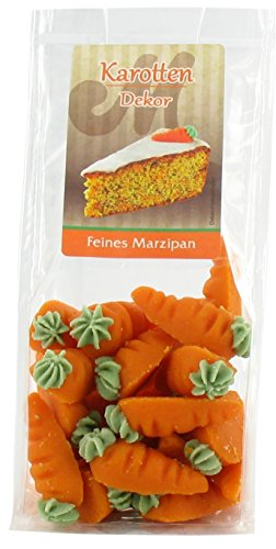 Odenwälder Marzipan Karotten 60g, perfekt geeignet zum backen. Mit Rezept für Ihren Marzipankuchen. Rübli optimal für eine Karottentorte. Marzipan-Möhren zum dekorieren.