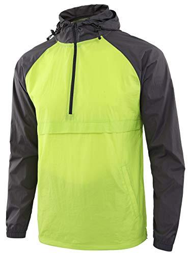 Jaqueta de chuva masculina leve à prova d'água com zíper Estepoba corta-vento anoraque, Lime/Dark Gray, M