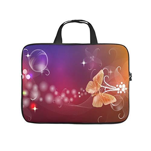 Funda para portátil resistente a los arañazos, diseño de mariposas, color lila y naranja
