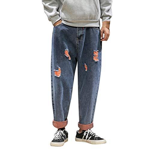 Ode-Joy Uomo Autunno Informale Denim Cotton Vintage Lavare Il Lavoro Hip Hop I Pantaloni - Jeans-Pantaloni Elasticizzati da Uomo, vestibilità Aderente, Pantaloni Chino a Gamba Dritta