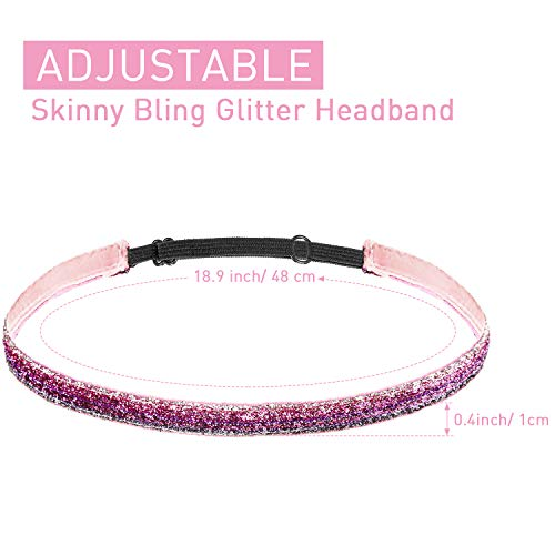 10 Pcs Glitter Non Slip Running Headbands Elastic Girls Sports Velvet Sparkly Fabric Stretchy Shiny Headbands Pack Workout Fashion Hair Accessories for Teen Girl Women Party Favors(0.4 Inches/ 1 cm)