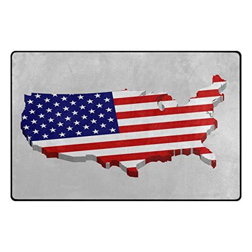 iRoad Teppich für Wohnzimmer, Amerikanische Karte, USA-Flagge, langlebig, fusselfrei, Teppiche für Kinderzimmer, Schlafzimmer, moderne Teppiche, 78 x 50 cm, multi, 31x20 in