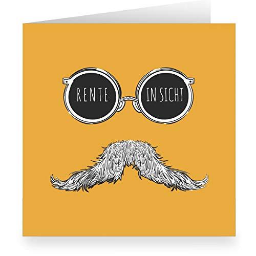 1 Coole Hipster Moustache Abschiedskarte im modernem Design, innen weiß (quadratisch 15,5cm + Umschlag) Rente in Sicht - große XL Glückwunsch-Karte zum Ruhestand für Mitarbeiter, Familie, Freunde