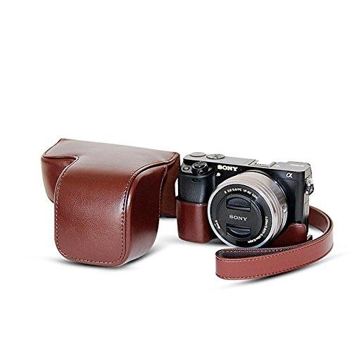 FANSONG Kamerahülle, Kameratasche aus Kunstleder für DSLR-Kamera Sony Alpha A6000 / A6300, mit Handgurt, Stativhalterung