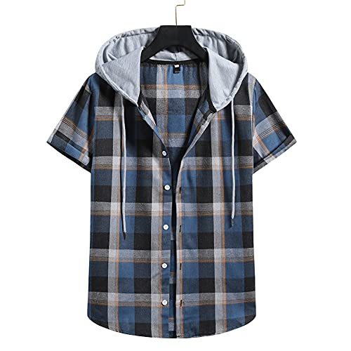 Camiseta Hombre Verano Cuello V Regular Fit Hombre Sin Cuello Camisa Moda Cuadros Impresión Manga Corta Causal Shirt Empalme Deportiva Camisa Suelta Que Absorbe Capucha T-Shirt Q-Blue 4 XXL