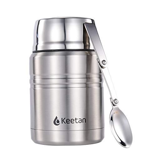 Keetan Contenitore termico per alimenti, Thermos per alimenti in acciaio Inox, 500-750 ml, Doppio isolamento termico per Cibi e Bevande calde o fredde – Cucchiaio pieghevole incluso