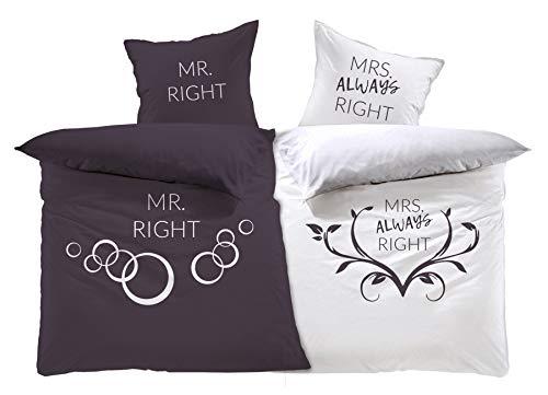 MRS. Always Right, Love, Partnerbettwäsche Set 4-teilig, Wendemotiv Digitaldruckbettwäsche, 2 x Bettbezug 135 x 200cm 2 x Kopfkissenbezug 80 x 80cm, 100% Baumwolle/Renforcé