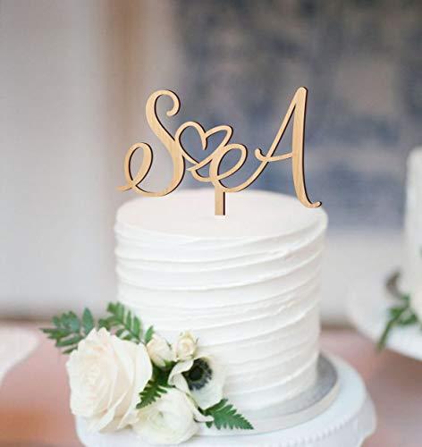 Decoración para tarta de boda con letras iniciales para tartas de boda, decoración personalizada, decoración de tarta de corazón, decoración de tarta de boda, decoración dorada o madera