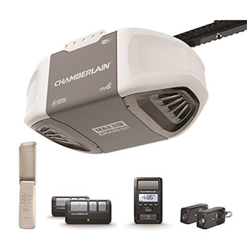 Chamberlain C870 Smart Garage Door Opener with Battery Backup - myQ Smartphone Controlled - Ultra Quiet Durable Chain Drive with MAX Lifting Power (1.25 HP), Wireless Keypad Included, Gray