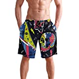 ALAZA Graffiti Skateboard Skull Symbols Quick Dry Mens Shorts with Pocket for Men Beach Swimming Athletic Casual Volleyball