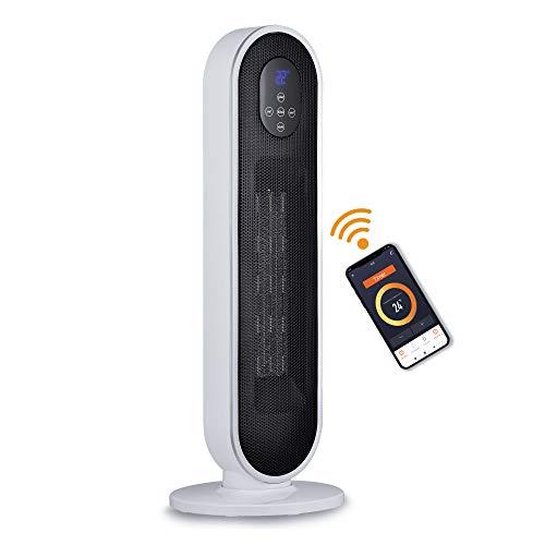 Bimar AMA01 Wi-Fi Termoventilatore Ceramico a Colonna, PTC, Controllo Vocale wifi smart Compatibile Alexa e Google Assistant Stufa Elettrica,Basso Consumo,Stufa Potente, Timer 12h,Riscaldamento Casa