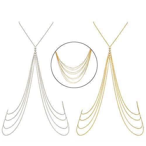 2 Stücke Quasten Körperkette mit Perle Dünn Sexy Gold und Silber Kreuz Körper Bauch Ketten Halskette Bikini Strand Körper Bauch Schmuck für Damen