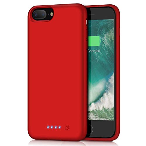 Battery Case for iPhone 8plus/7plus/6 Plus/6s Plus, Upgraded [8500mAh] Protective Portable Charging Case Rechargeable Extended Battery Pack for Apple iPhone 8plus/7plus/6 Plus/6s Plus(5.5') - Red