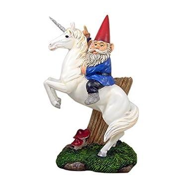 Magical Adventure Garden Gnome on Unicorn Lawn Figurine, 13 1/2 Inch