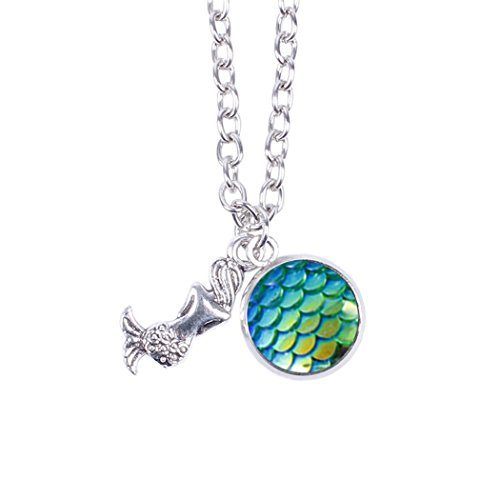 Myhouse Women Girls Colorful Fish Scales Pattern Mermaid Pendant Necklaces for Gifts Charms Findings (Green)
