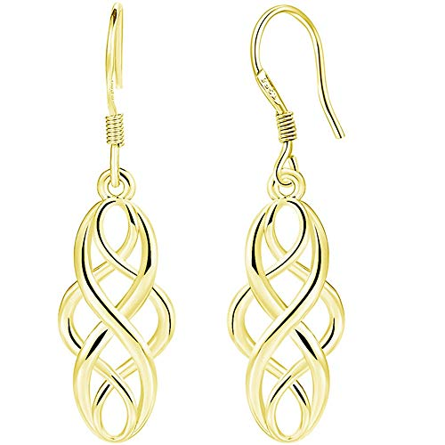 White Gold Plated Celtic Knot Braided Fishing Hoop Dangle Earrings (Gold)
