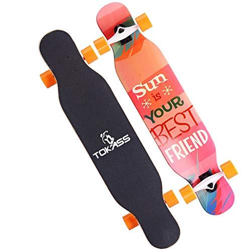 Professionell skateboard, lämplig för pojkar/tjejer/ungdomar/vuxna, nybörjare och professionella skateboardåkare, dubbelspark 7-lager kanadensisk lönn konkav skateboard